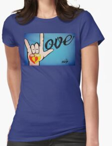 Love Sign Language Art Womens Fitted T-Shirt