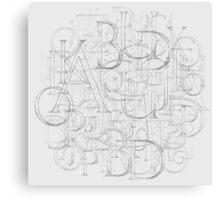 Antique Alphabet in Round Canvas Print