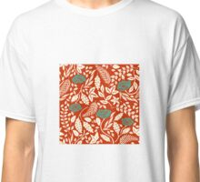 Red Woodcut Flowers Classic T-Shirt