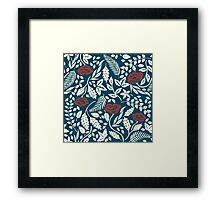Red White and Blue Flowers Woodcut Framed Print