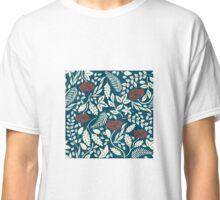 Red White and Blue Flowers Woodcut Classic T-Shirt