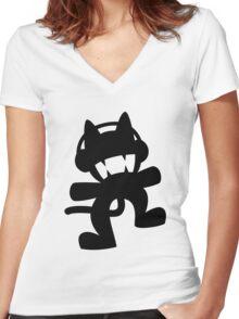 Monstercat | Black Logo | White Background | High Quality Women's Fitted V-Neck T-Shirt
