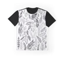 Feather Montage Sketch Black and White Graphic T-Shirt