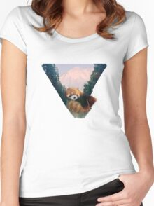 Red Panda Valley  Women's Fitted Scoop T-Shirt