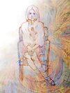 Lulu's charcoal sketch with digital art. by Elaine Bawden