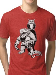 Snapping Turtle and Owl Tri-blend T-Shirt