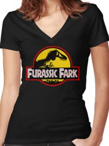 Furassic Fark Women's Fitted V-Neck T-Shirt
