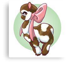 Cutie Bow Llama Canvas Print