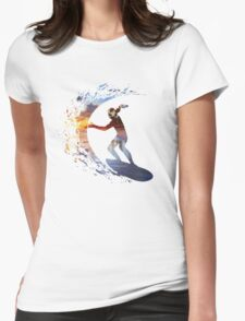 Surfing during sunset Womens Fitted T-Shirt