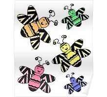Colorful Bees Poster