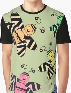 Colorful Bees Graphic T-Shirt