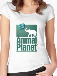 Old Animal Planet Logo Women's Fitted Scoop T-Shirt