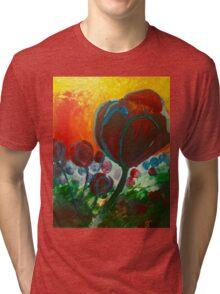Blue High Poppies on Fire Tri-blend T-Shirt