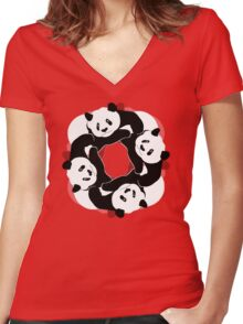 PANDA PLAY Women's Fitted V-Neck T-Shirt