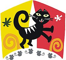 Black cat cartoon on red and orange background Photographic Print
