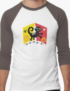 Black cat cartoon on red and orange background Men's Baseball ¾ T-Shirt