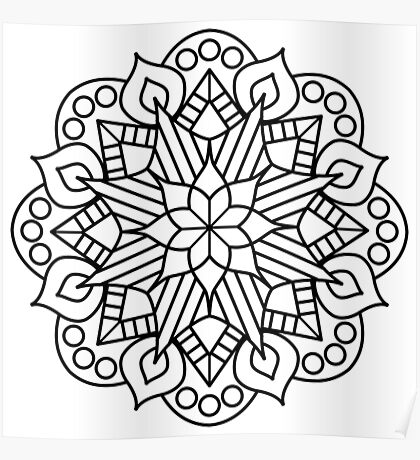 Flower and Flame Mandala Poster