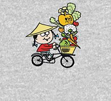 Cartoon Asian man riding bicycle carrying vegetables Unisex T-Shirt