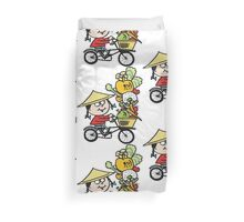Cartoon Asian man riding bicycle carrying vegetables Duvet Cover