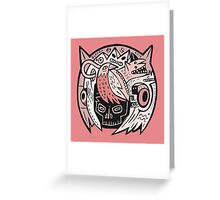 Bubble Head - pink Greeting Card