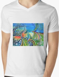 Dance of the Birds Abstract colorful painting Mens V-Neck T-Shirt