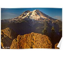 Mount Rainier at Sunset with Big Boulders in Foreground Poster