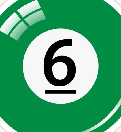Green pool/billiard ball number 6 sticker Sticker