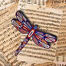 Dragonfly Old Music Sheets by Lisa Frances Judd~QuirkyHappyArt
