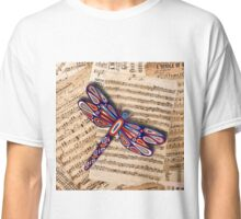 Dragonfly Old Music Sheets Classic T-Shirt