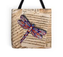 Dragonfly Old Music Sheets Tote Bag