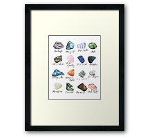 Watercolor gemstones geology print Framed Print
