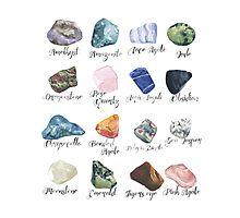 Watercolor gemstones geology print Photographic Print