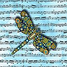 Dragonfly Music Sheet Blue by Lisa Frances Judd~QuirkyHappyArt