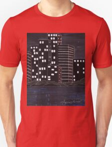 Dark city skyline Unisex T-Shirt