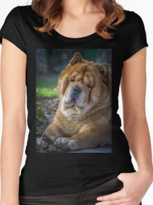 Cute chow dog portrait Women's Fitted Scoop T-Shirt