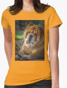Cute chow dog portrait Womens Fitted T-Shirt