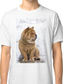 Winter chow dog portrait Classic T-Shirt