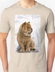 Winter chow dog portrait Unisex T-Shirt