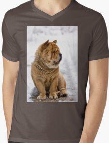 Winter chow dog portrait Mens V-Neck T-Shirt