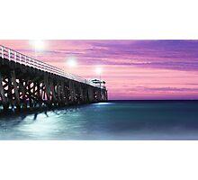 Grange Jetty: Crimson sunset  Photographic Print