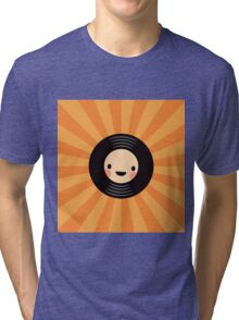 LP vinyl record on orange sunburst background Tri-blend T-Shirt