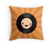 LP vinyl record on orange sunburst background Throw Pillow