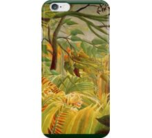 Henri Rousseau - Iger In A Tropical Storm Surprised iPhone Case/Skin