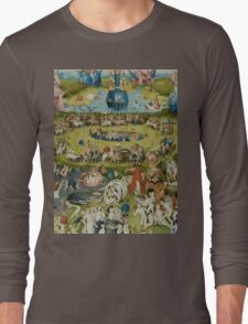 Hieronymus Bosch - The Garden Of Earthly Delights.  The Garden love - delight, eden, god, hell, adam, animal, bird, couple, fountain, monster, religion, fantasy, fish,  fruit Long Sleeve T-Shirt