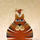 Fat Cat and Friend Orange by Lisa Frances Judd~QuirkyHappyArt