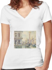 John Singer Sargent - The Piazzetta Women's Fitted V-Neck T-Shirt