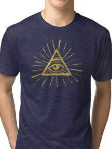 All Seeing Eye - Gold Edition Tri-blend T-Shirt