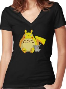 Totorotchu & Pikaro  Women's Fitted V-Neck T-Shirt