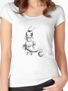 Elephant and a girl Women's Fitted Scoop T-Shirt