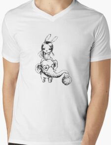 Elephant and a girl Mens V-Neck T-Shirt